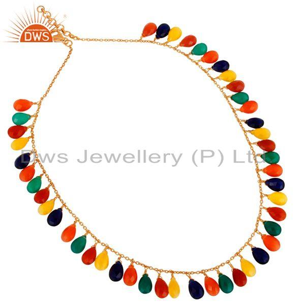 18K Gold Plated 925 Sterling Silver Multi Colored Gemstone Drop Necklace