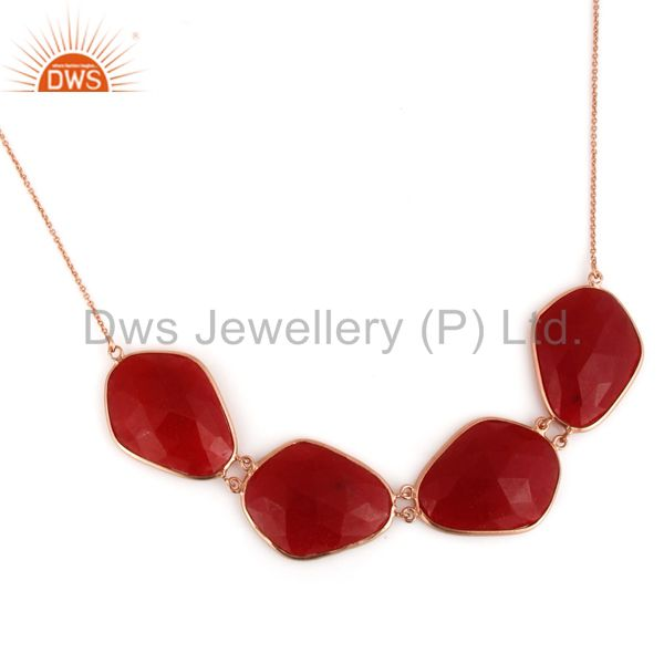 Red Aventurine Gemstone Bezel-Set Sterling Silver Necklace With Rose Gold Plated