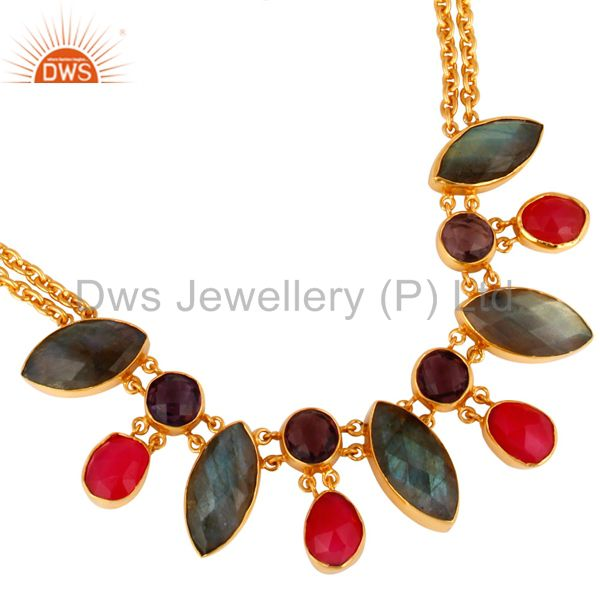 Designer Multi-Colored Gemstone Statement Necklace 18K Gold Over Brass Jewelry