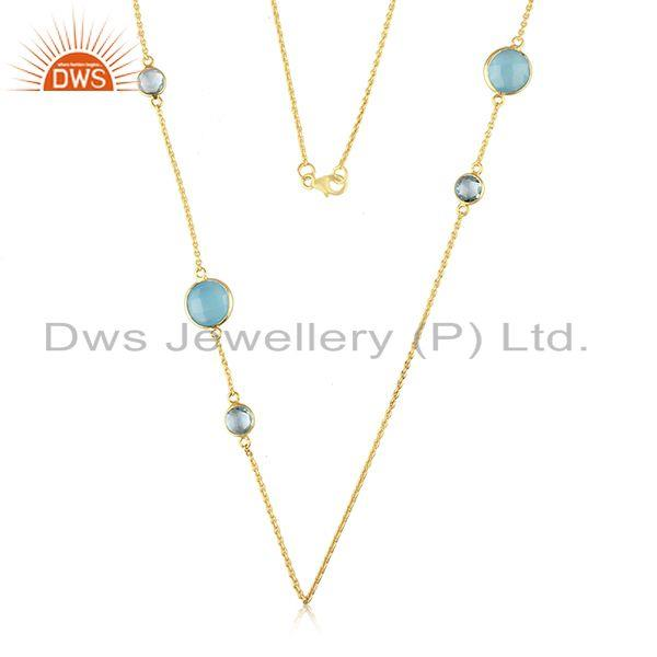 Handmade Gold Plated 925 Silver Gemstone 32inch Chain Necklace Supplier