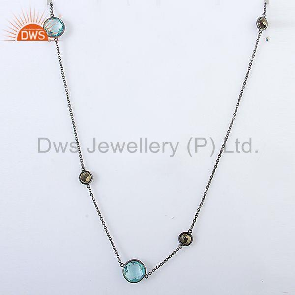 Hydro Blue Topaz Gemstone Wmen Chain Necklace Jewelry Supplier