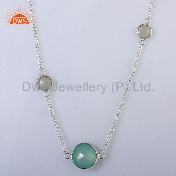 Rainbow Moonstone Aqua Chalcedony Gemstone Chain Necklace Jewelry