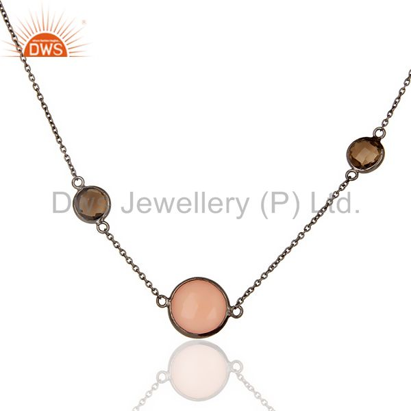 Smoky Rose Chalcedony Long Station Multy Stone Chain Oxodized Silver Necklace