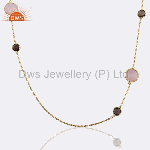 Smoky and Rose Chalcedony Gemstone 925 Silver Necklace Jewelry