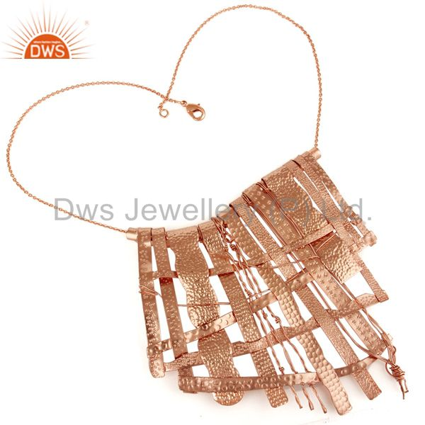 18k rose gold plated handmade textured design brass necklace jewelry