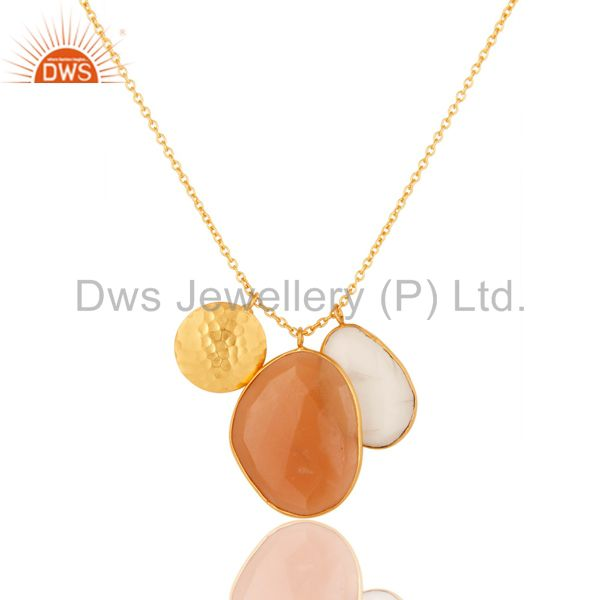 White and Peach Moonstone 18K Gold Plated Necklace with Disc Charm