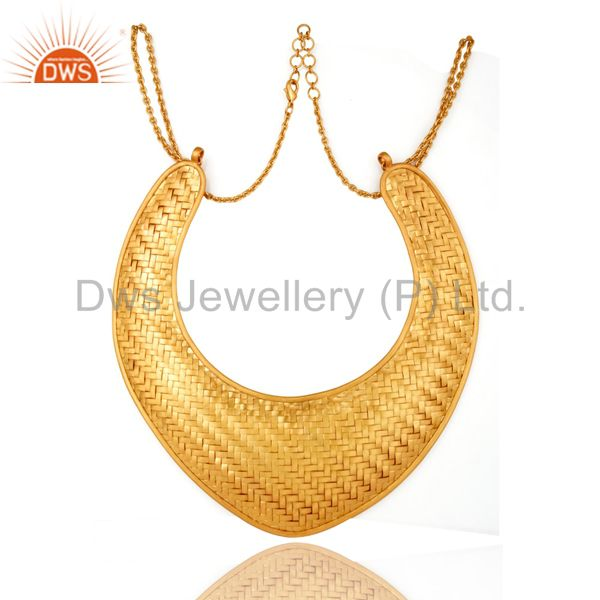 22k yellow gold plated brass wire woven mesh designs statement bib necklace