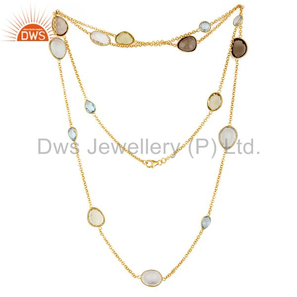 "22K Gold Plated Sterling Silver Multi Color Stones 40"" Chain Necklace Jewellery"