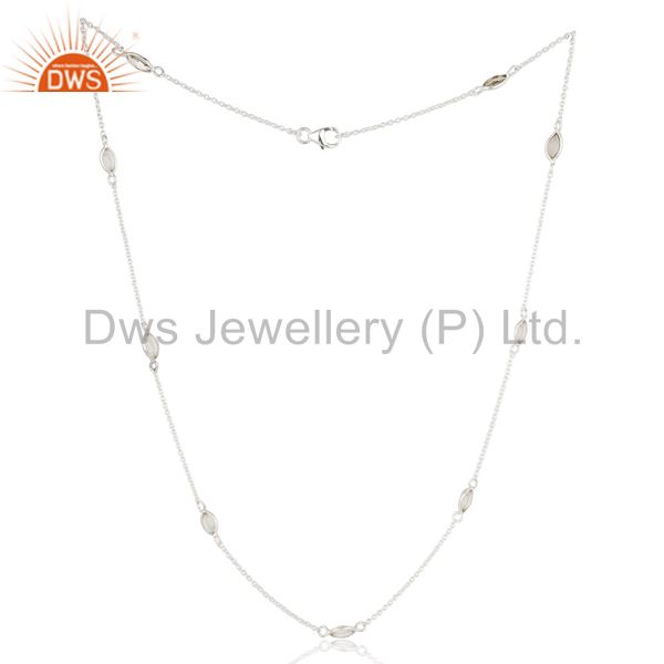 Solid 925 Sterling Silver Crystal Quartz Gemstone Bezel Set Chain Necklace
