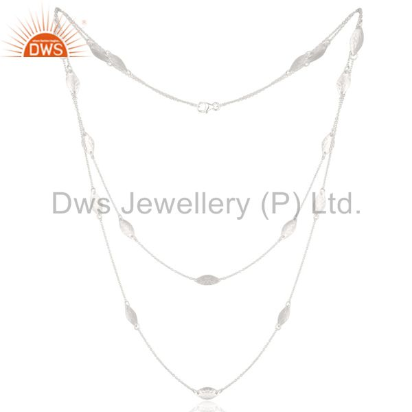 Solid 925 Sterling Silver Handmade Art Deco 20 Inch Chain Necklace Jewellery