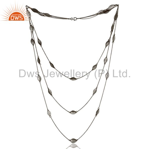 Black Oxidized Sterling Silver Handmade Art Deco Chain Necklace Jewellery 24