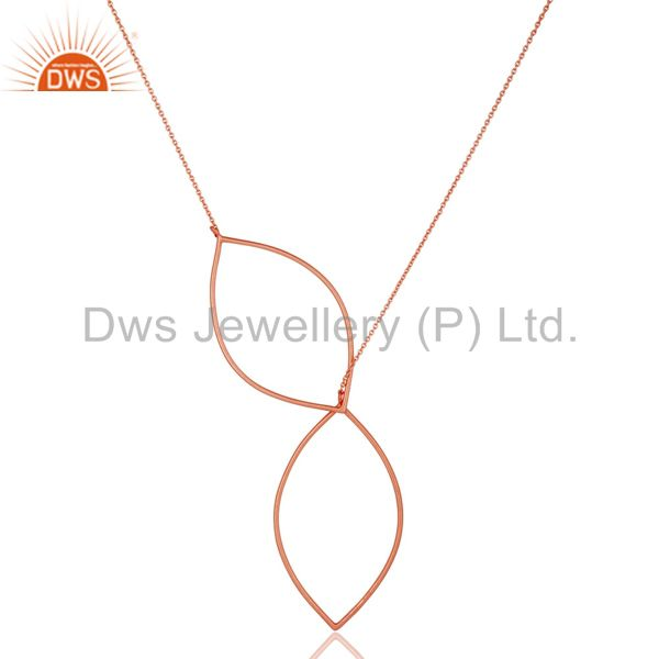 "18k rose gold plated sterling silver handmade art deco 20"" chain necklace"