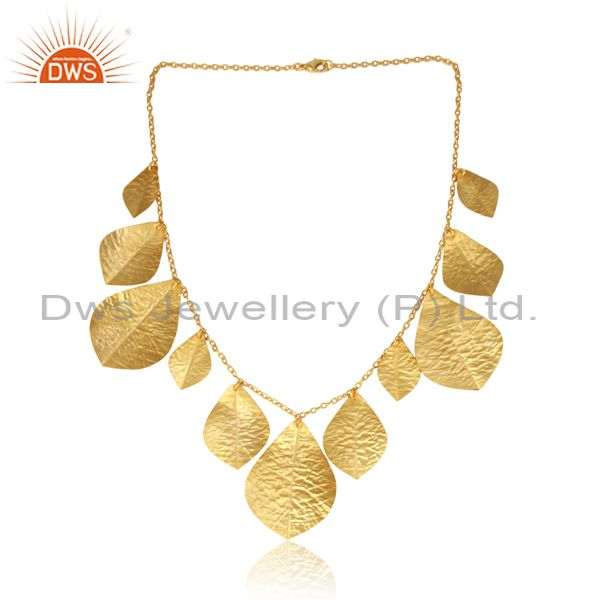 Textured Bold Multi Leaf Designer Gold on Fashion Necklace