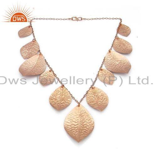 18K Rose Gold Plated Sterling Silver Designer Necklace