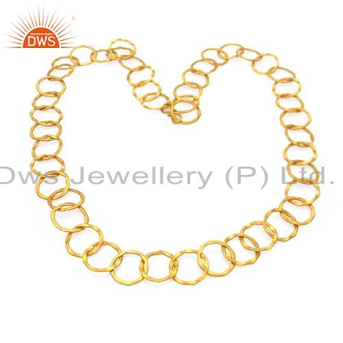 Hammered 22K Yellow Gold Plated Sterling Silver Circle Link Chain Necklace