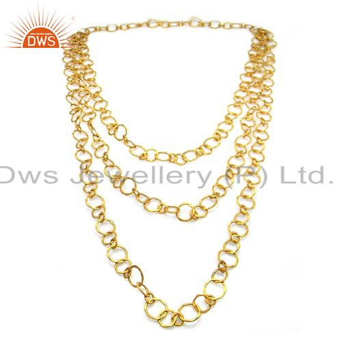 Hammered 22k yellow gold plated sterling silver 3 layered link chain necklace