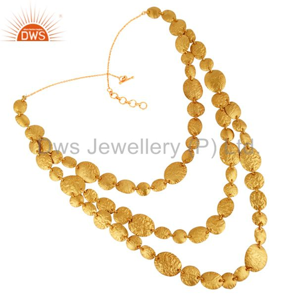18K Yellow Gold Plated Sterling Silver Three Layer Necklace
