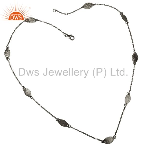 925 Sterling Silver With Oxidized Hammered Petals Chain Necklace