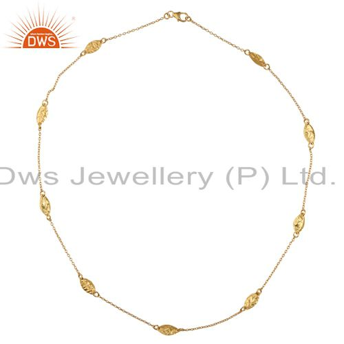 18K Yellow Gold Plated Sterling Silver Designer Chain Necklace
