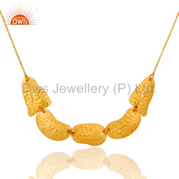 22k yellow gold plated sterling silver hammered petals chain necklace