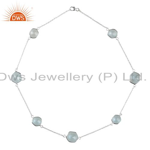 Handmade sterling silver blue topaz gemstone bezel set link chain necklace