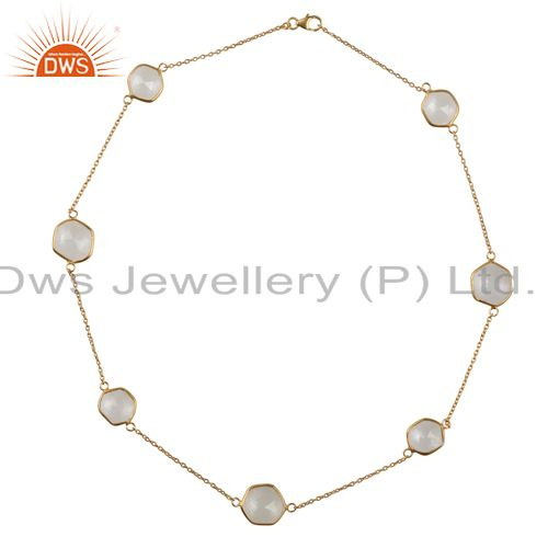 14K Yellow Gold Plated Sterling Silver Crystal Quartz Bezel Link Chain Necklace