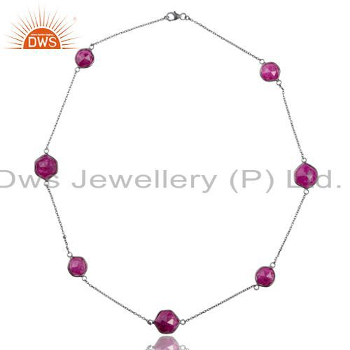 Oxidized Sterling Silver Dyed Ruby Corundum Gemstone Bezel Link Chain Necklace