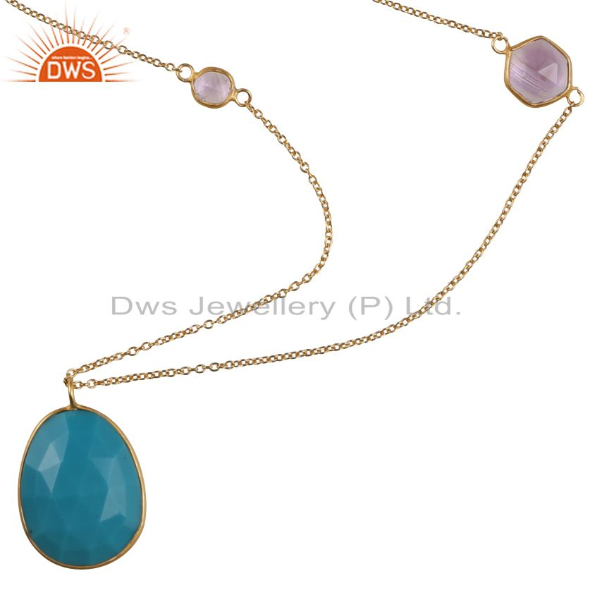 18k yellow gold plated sterling silver amethyst and turquoise chain necklace