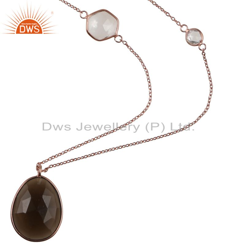 18K Rose Gold Plated Sterling Silver Smoky Quartz And Crystal Quartz Necklace