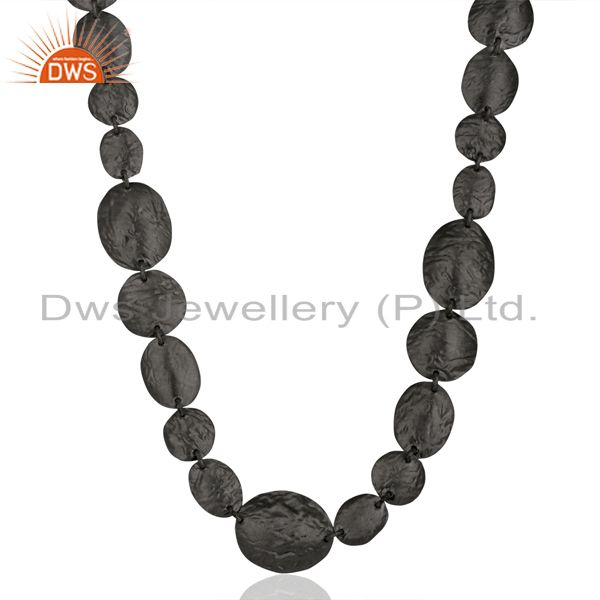 Oxidized solid sterling silver hammered petals design statement necklace