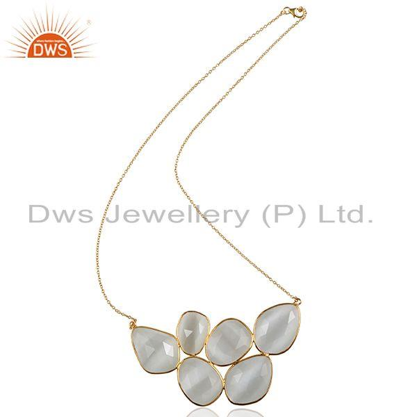 18K Yellow Gold Plated Sterling Silver White Moonstone Bezel Set Necklace