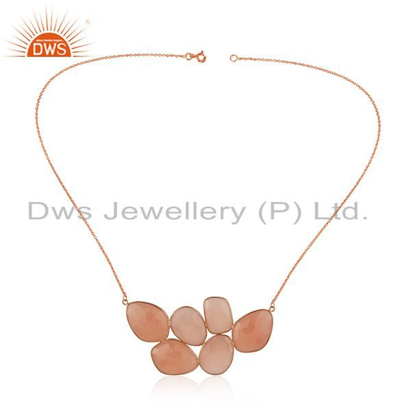 18K Rose Gold Plated Sterling Silver Rose Chalcedony Bezel Set Necklace