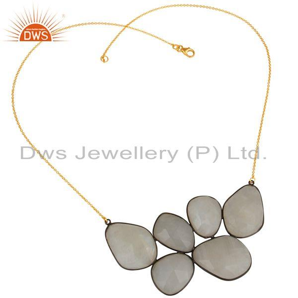 18K Gold Plated & Black Oxidized 925 Sterling Silver Rainbow Moonstone Necklace