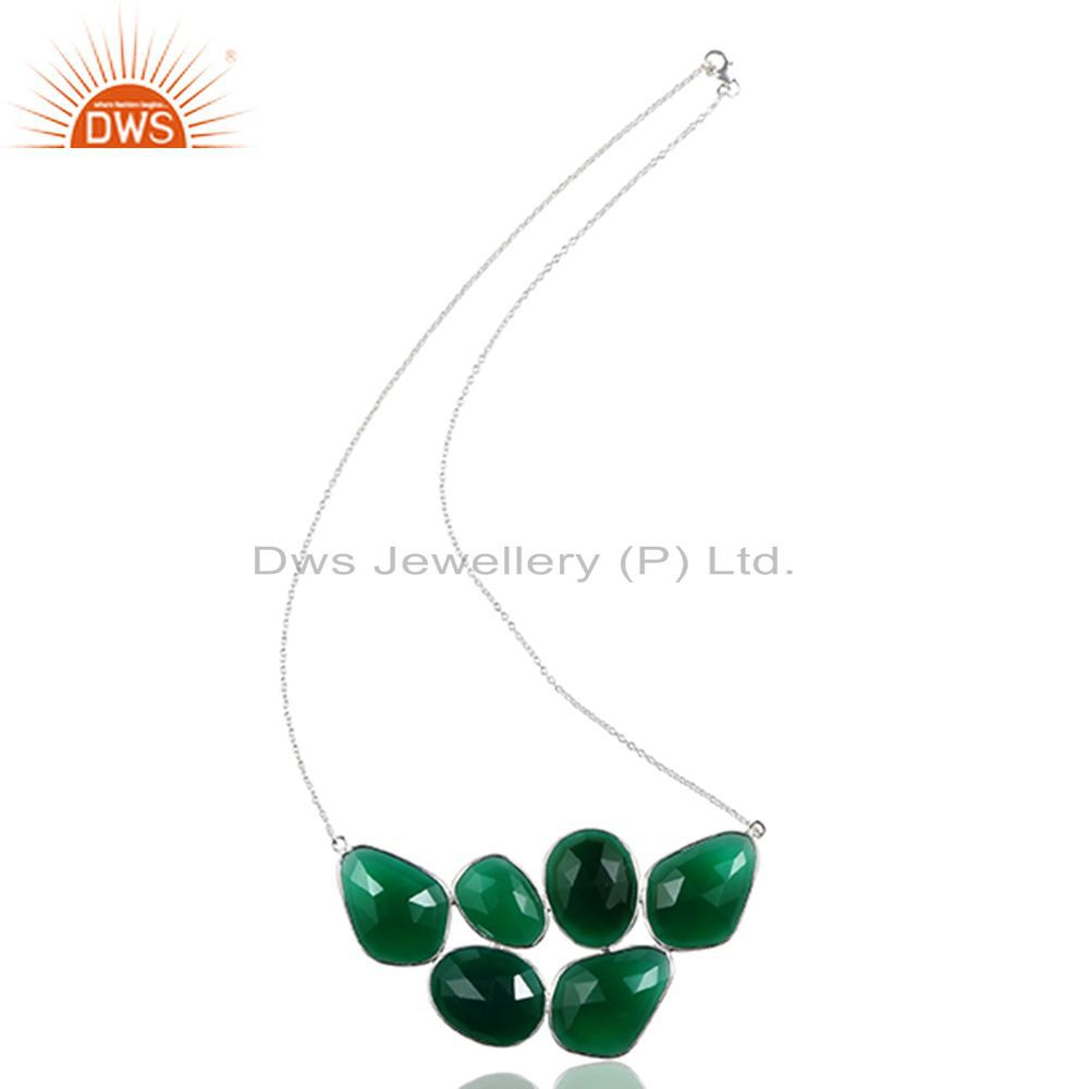 Handmade 925 Sterling Silver Natural Green Onyx Gemstone Necklace