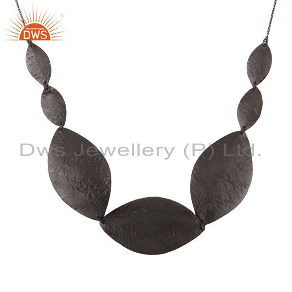 Oxidized Sterling Silver Hammered Disc Link Necklace