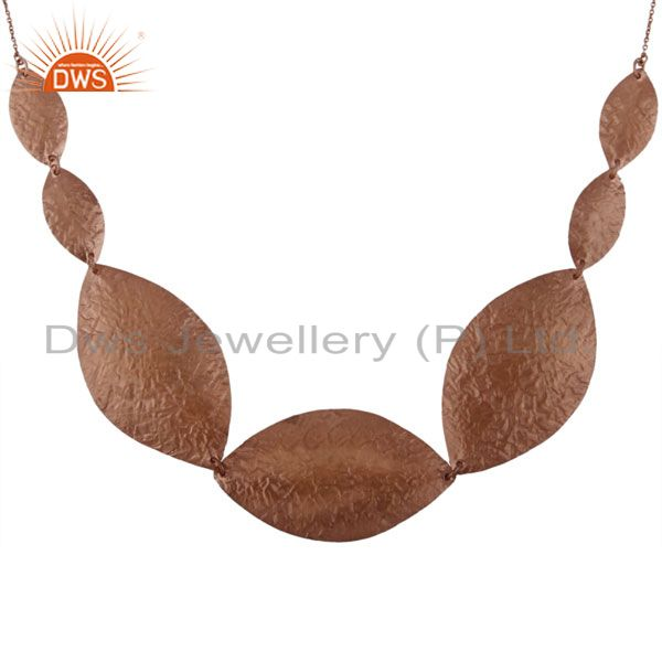 Handcrafted sterling silver petals fashion necklace with 18k rose gold plated