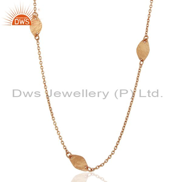 Rose Gold Plated Sterling Silver Chain Necklace Jewelry Supplier