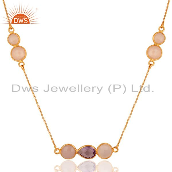 18K Yellow Gold Plated Sterling Silver Amethyst And Rose Chalcedony Necklace