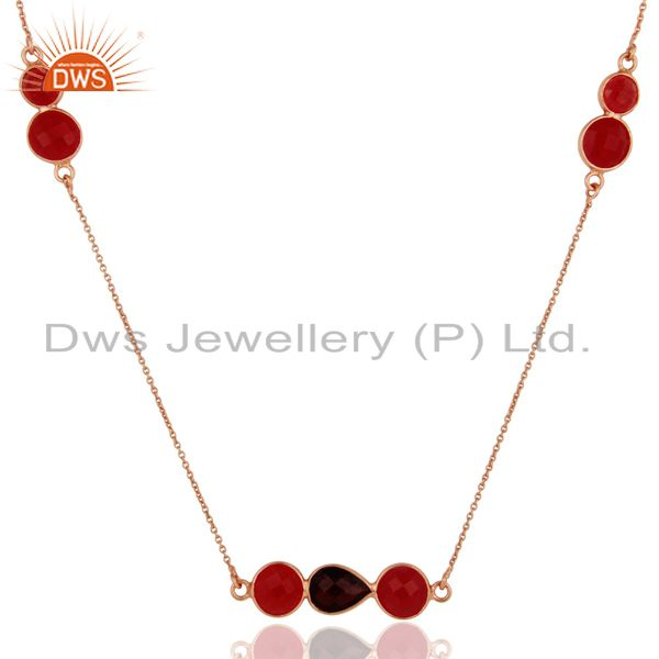 18K Rose Gold Plated Sterling Silver Red Aventurine And Garnet Chain Necklace