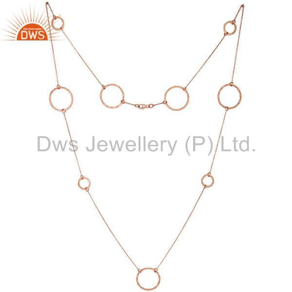 Rose Gold Plated Sterling Silver Handmade Round Hammered Circle Link Necklace