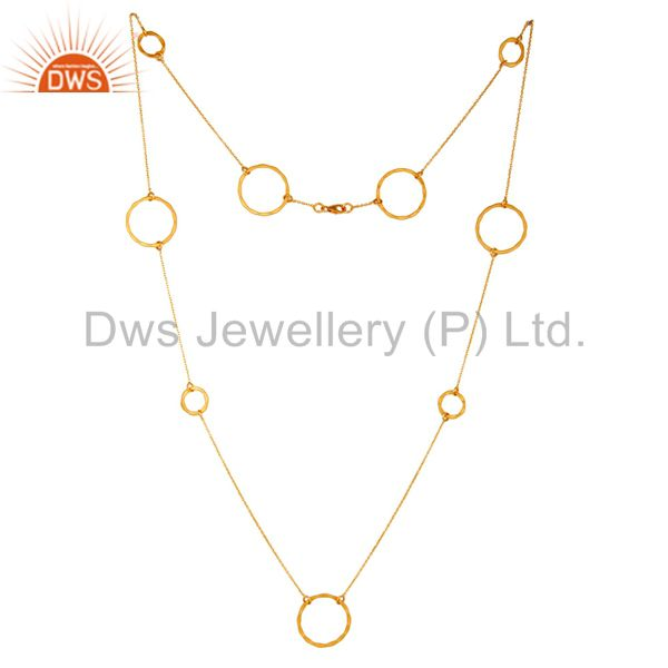 18k gold plated sterling silver handmade round hammered circle link necklace
