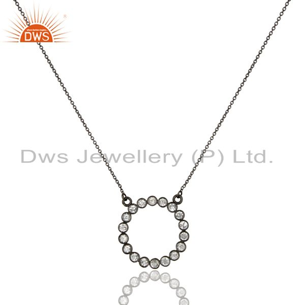 Black Oxidized 925 Sterling Silver Handmade White Topaz Chain Pendant Necklace