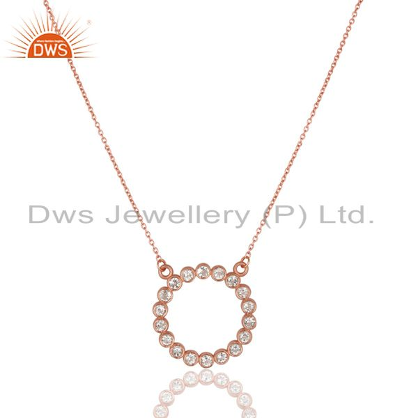 14k rose gold plated 925 sterling silver handmade white topaz chain pendant