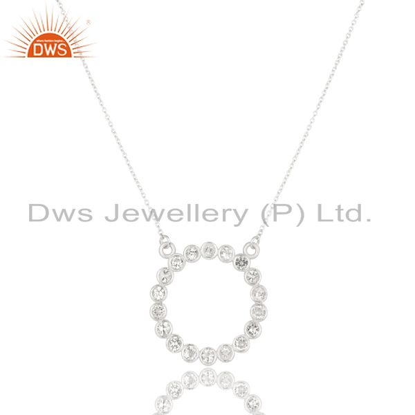 Solid 925 sterling silver handmade white topaz chain pendant necklace jewelry