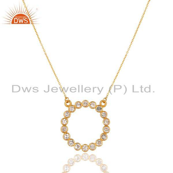 14k yellow gold plated 925 sterling silver handmade white topaz chain pendant