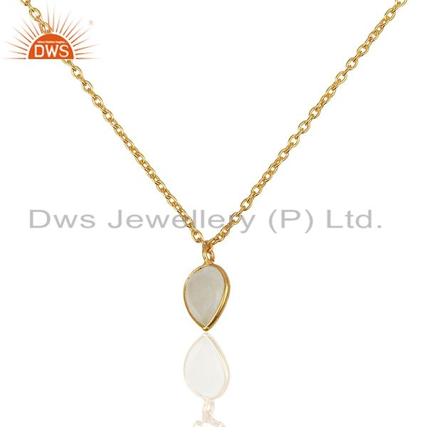14K Gold Plated Rainbow Moonstone & Crystal Quartz 32 Inch Chain Brass Necklace