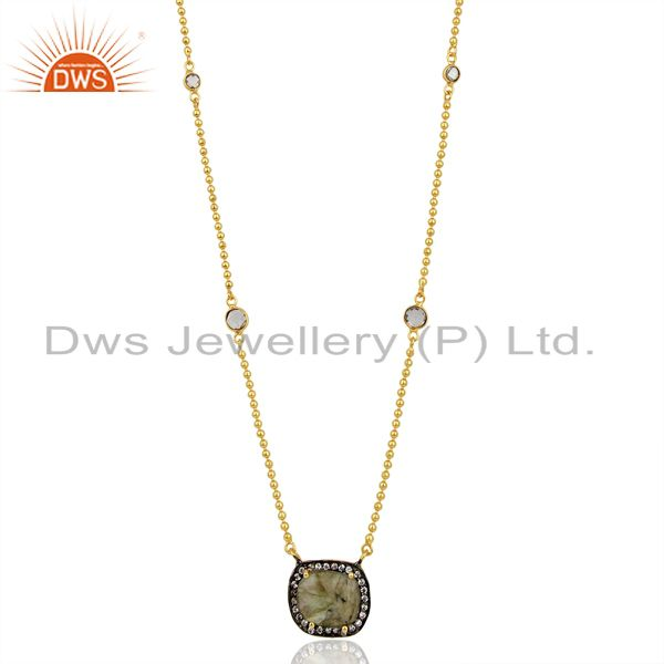 Labradorite Gemstone CZ Gold Plated Chain Fashion Pendant Manufacturer