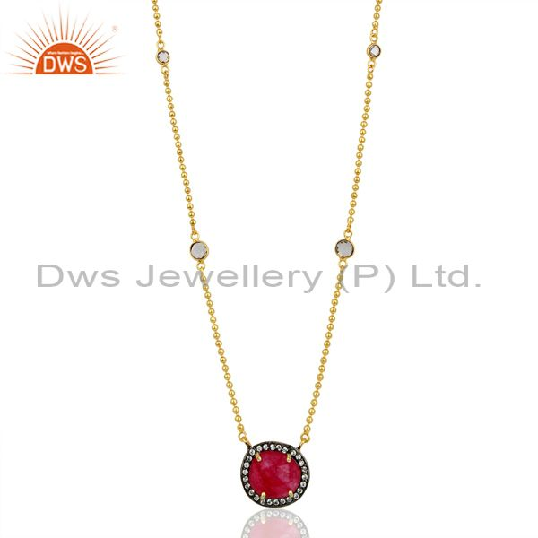 Red Aventurine Gemstone Gold Plated CZ Fashion Pendant Supplier