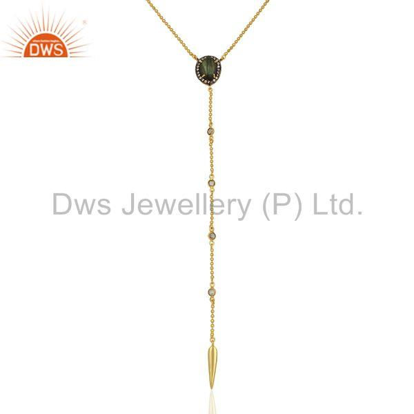 Gold Plated CZ and Labradorite Gemstone Fashion Chain Necklace Jewelry