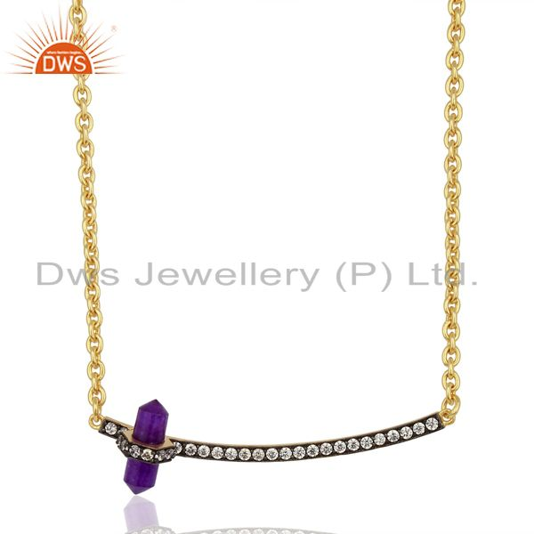 Aventurine Gemstone CZ Brass Fashion Chain Necklace Manufacturer